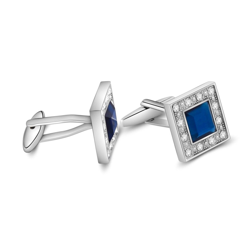 MERIT OCEAN Blue Navy Swarovski Crystal Square Cufflinks for Men Classical Swarovski Cuff Links with Gift Box Elegant Style by MERIT OCEAN (Image #5)