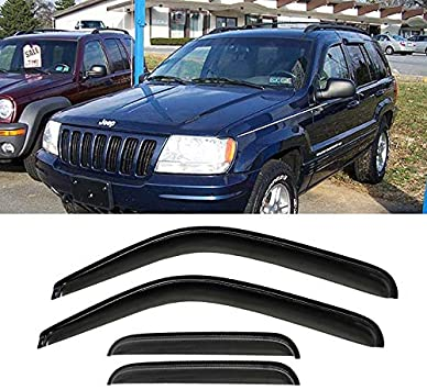 4-Piece Set for 1999-2004 Jeep Grand Cherokee Auto Ventshade 94650 Original Ventvisor Side Window Deflector Dark Smoke