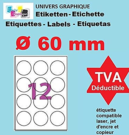 20 A4 hoja de 12 etiquetas autoadhesivas redondas 60 mm 12 ...