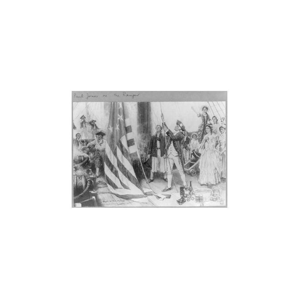 Photo John Paul Jones,1747 1792,unfurling his flag on the RANGER,1777?,Scottish sailor