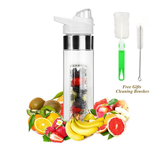 (ELUTONG Fruit Infused Water Bottles Fusion 24OZ Bottom Infuser Style with Flip Top Lid - Big Mouth Tritan Plastic White Free Bottle Brush)