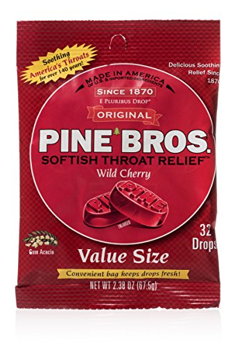 Pine Bros Throat Drops Bag, Wild Cherry, 32 Count (Pack o...