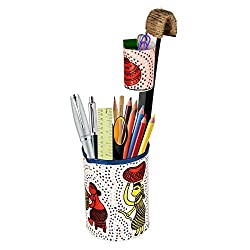 Pen Holder cum Spoon Holder (white)Worldly Women |Traditional Indian Creative Gifts Home Decor Table Top Pen Stand By Pulpypapaya…