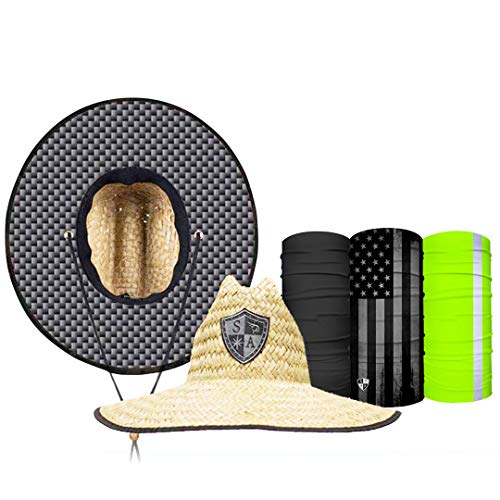 S A Straw Hat Pack - Carbon Fiber Underbrim Straw Hats for Men and Straw Hats for Women - UPF 50+ Sun Hats and 3 Face Shields Beige