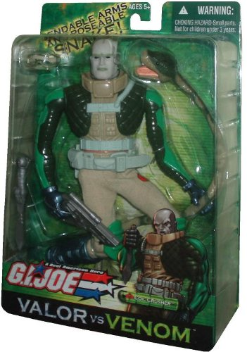 (GI Joe Year 2004 Valor vs. Venom Movie Series 12 Inch Tall Action Figure - Coil Crusher with Bendable Arms, Poseable Snake, Boots, Knee Pads, Belt, Pistol, Knife and Goggles)