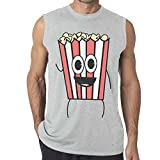 Aoxinquji Cartoon Popcorn Men's Casual Sexy Sleeveless T-shirt XL Ash