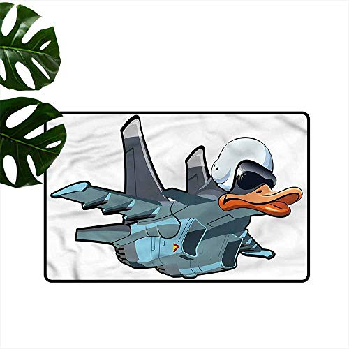 Non-Slip Door mat Airplane Jet Bird Angry Comic Craft Quick and Easy to Clean W31 xL47]()