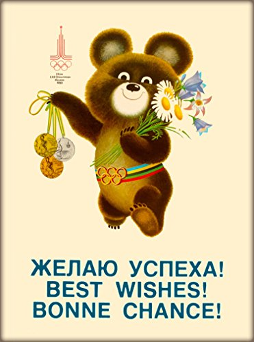 A SLICE IN TIME 1980 Summer Olympic Games Mockba Moscow Soviet Union Russia Little Bear Vintage Olympics Travel advertisement Art Poster Print. Measures 10 x 13.5 inches