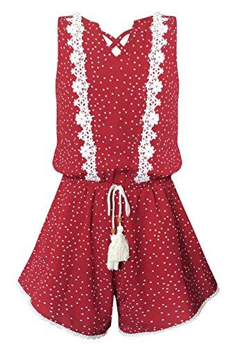 Smukke, Big Girls Vintage Lace Trimmed Sleeveless Romper with Pockets, 7-16 (Red Multi, 16)