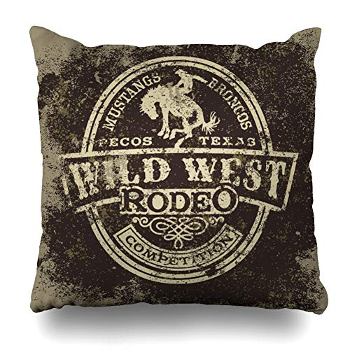 DIYCow Throw Pillow Covers Cowboy Wild West Rodeo Vintage Style Sports Recreation Western Texas Horse Country Design Home Decor Pillowcase Square Size 16 x 16 Inches Zippered Cushion Case