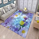 Flower Area Rugs for Bedroom Vintage Flower in Pastel Color Scheme Fragrance Natural Blooming Beautiful Print Door Mats for Inside Multicolor