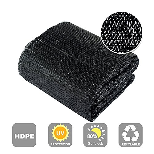 Agfabric 80% Sunblock Shade Cloth Cover with Clips for Plants 6.5' X 50', Black Review
