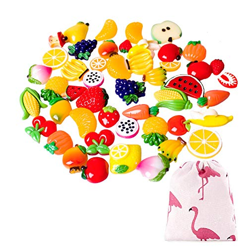 - 50 Pieces Slime Charms Slime Beads Mixed Resin Fruit Beads Slime Making Supplies for Slime DIY Crafts,Scrapbook and Decoration(50 Pieces Fruit)