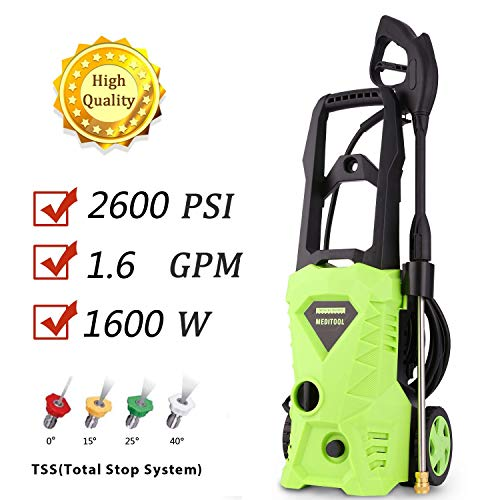 PaPafix Electric Power Pressure Washer 2600 PSI 1.6GPM 1600W High Pressure Washer Cleaner Machine with Nozzles and Spray -