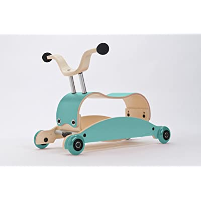 Wishbone Mini-Flip Mix & Match in Aqua - Baby Walker That Converts - 3-in-1 Walk, Scoot and Rock : Baby