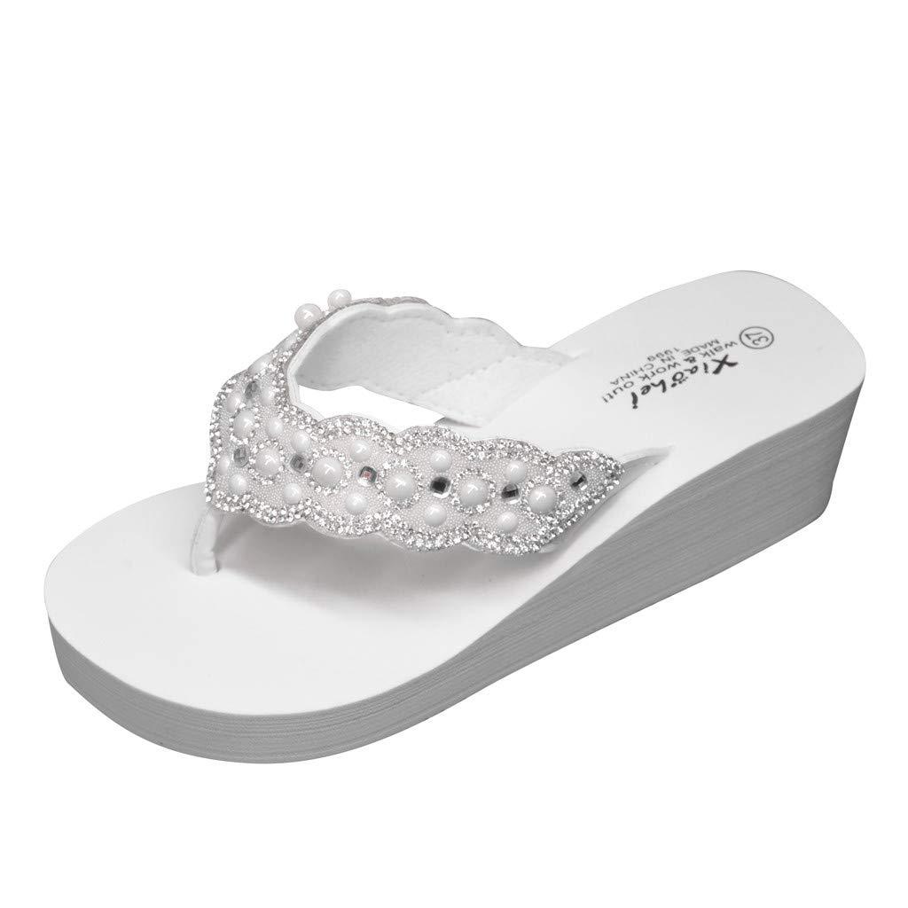 Women Wedge Slippers Summer,SIN+MON Women Platform Shoes Retro Rhinestone Thick-Bottom Flip-Flops Casual Beach Slides Shoes