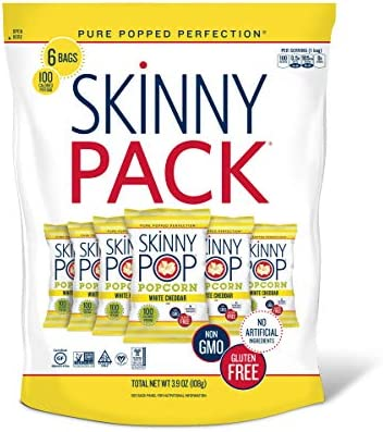 SKINNYPOP White Cheddar Popped Popcorn, 100 Calorie Bags, Individual Bags, Gluten Free Popcorn, Non-GMO 6 Count per pack of 0.65 Ounce , 3.9 Oz