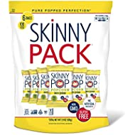 SKINNYPOP White Cheddar Popped Popcorn, 100 Calorie Bags, Individual Bags, Gluten Free Popcorn, Non-GMO (6 Count per pack of 0.65 Ounce), 3.9 Oz
