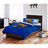 5 Piece NCAA University of Kentucky Wildcats Comforter Queen Set, Sports Patterned Bedding, Featuring Team Logo, Fan Merchandise, Team Spirit, College Basket Ball Themed, Blue, Yellow, For Unisex