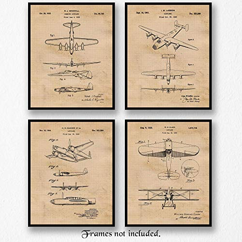 (Original Bomber Airplanes Patent Art Poster Prints- Set of 4 (Four 8x10) Unframed Photos- Great Wall Art Decor Gifts Under $20 for Home, Office, Garage, Man Cave, Student, Teacher, Military Veterans)