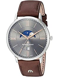 Men's 'Eliros' Quartz Stainless Steel and Leather Casual Watch, Color:Brown (Model: EL1108-SS001-311-1)