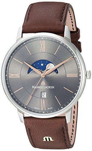 Maurice Lacroix Men's Eliros Stainless Steel Quartz Watch with Leather Calfskin Strap, Brown, 0.8 (Model: EL1108-SS001-311-1)