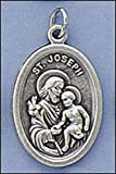 5pc Pack Patron Saints Medals, St. Joseph with Chid Jesus, Italian Oxidized Silver. Catholic Saint Joseph Patron Saint of Canada, Carpenters, Church, Dying, Fathers, Peru, Social Justice, Universal Church, Engineers, Happy Death, Families & Marries Couple