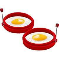 "COTEY 4"" Non Stick Egg Ring Set of 2, Round Circle Egg Cooker Shaper for Fried Egg McMuffin Pancake Sandwiches – Silicone Egg Maker Molds"
