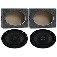 Package Pair of Kenwood KFC-6965S 6x9 3-Way Car Audio Coaxial Speakers with (Optional) Speaker Boxes