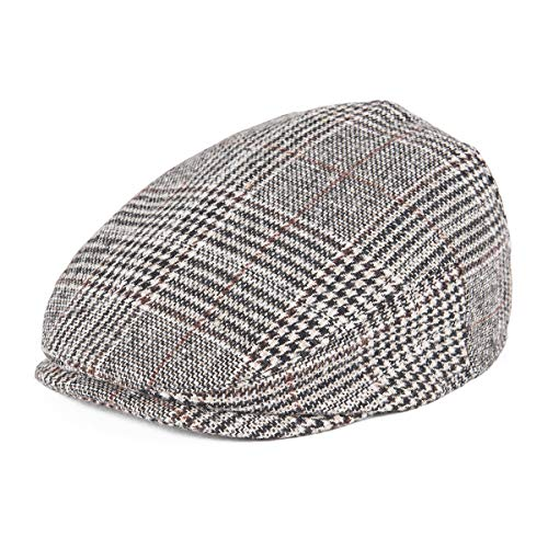 JANGOUL Kids Flat Cap Boy Girl Newsboy Caps Infant Toddler Child Youth Beret Hat Ivy Gatsby Cap (54cm, Beige Plaid)