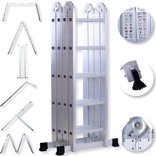 Masko® ALU 6in1 Mehrzweckleiter Anlegeleiter Klappleiter Stehleiter Aluminium, Modell:4x5 Stufen