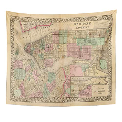 Semtomn Tapestry Artwork Wall Hanging Hand New York Brooklyn Map by Colored Shows Wards 50x60 Inches Home Decor Tapestries Mattress Tablecloth Curtain Print
