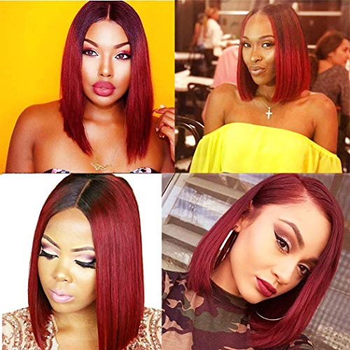 99j Lace Wigs Human Hair Wigs Ombre 1b 99j Bob Wig Middle Part L Lace Red Wine Burgundy Straight Yaki White Glueless Pre Plucked Bleach Knot Cheap Short 12 Inch