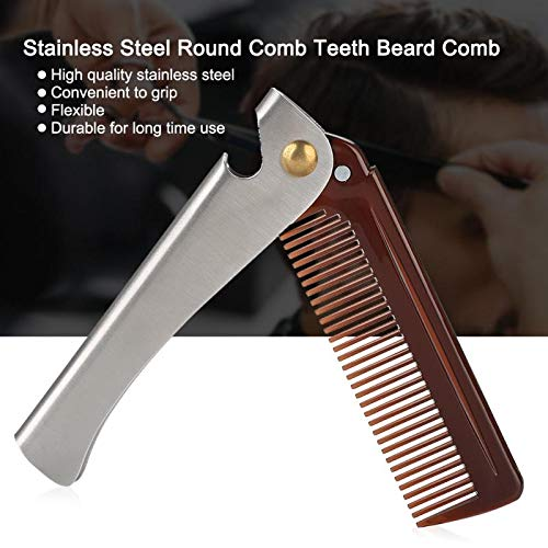 Sala-Ctr - Stainless Steel Round Comb Teeth Beard Comb Folding Pocket Moustache Shaping Comb]()