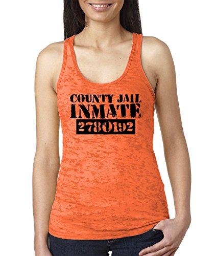 HAASE UNLIMITED Women's County Jail Inmate Burnout Racerback Tank Top (Orange, Large)