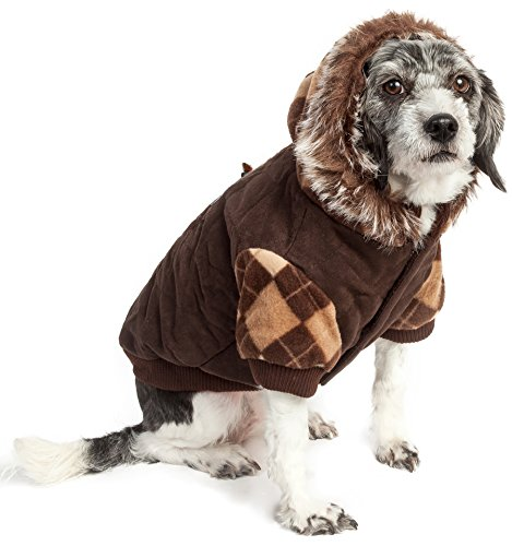PET LIFE Designer Fashion Argyle Suede Pet Dog Coat Jacket Parka Sweater w/ 3M Insulation and Removable Hood, Small, Brown