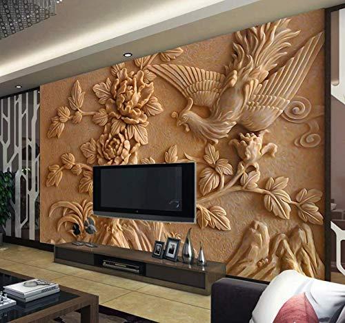 Murwall 3D Embossed Floral Wallpaper Cement Peony Flower Wall Mural Phoenix Bird Wall Art Living Room Bedroom Entryway