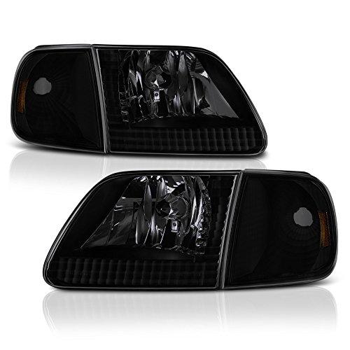 VIPMOTOZ For 1997-2003 Ford F-150 Headlights & Turn Signal Cornering Lamps - Matte Black Housing, Smoke Lens, Driver and Passenger (Ford F150 Cornering Light)