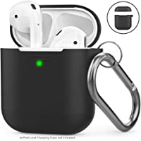 AhaStyle AirPods Case Cover Silicone [Front LED Visible & Supports Wireless Charging] Compatible with Apple Airpods 2&1(2019) (With Hook, Black)