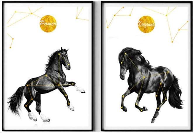 LTXMZ Nórdico Moderno Caballo Poster Negro Blanco Lienzo Pintura Animales Cuadro Arte impresión Sala telón de Fondo hogar Pared Decoracion Pintura 40x60cmx2 no Marco