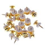 20 Pairs Mushrooms Head Guitar Strap Buttons Strap Locks Gold Guitar Parts
