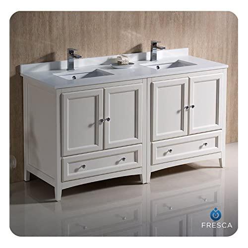 "hot sale 2017 Fresca FCB20-3030AW-CMB-U Oxford 60"" Antique White Traditional Double Sink Bathroom Cabinets with Top & Sinks"
