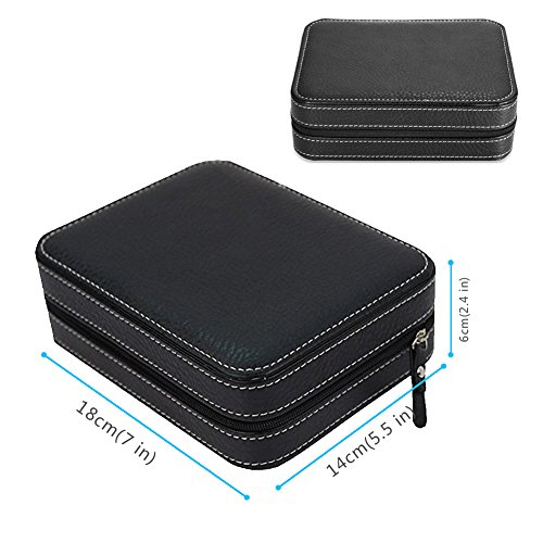 Nasion.V Portable Watch Organizer Box 4 Slots Travel Watch Storage Case Leatherette Zippered Watch Holder Collector Case Jewelry Storage Organizer Box - Black by Nasion.V (Image #5)