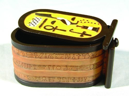 5.88 Inch Scarab Cartouche Egyptian Shaped Box Statue Figurine ()