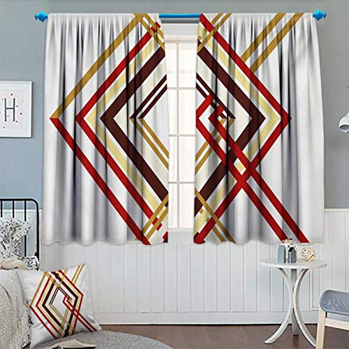 Anhounine Modern,Blackout Curtain,Retro Style Diamond Like Border Line Geometrical Artwork Design,Room Darkening Curtains,Ruby Caramel Brown and Tan,W55 x L39 inch
