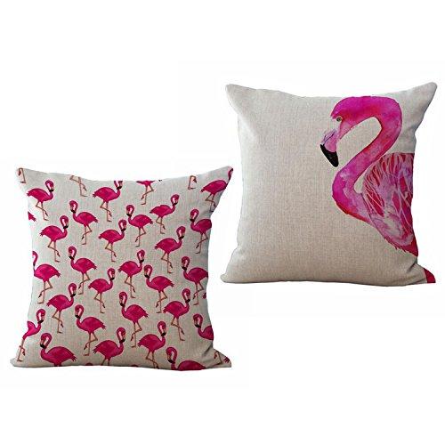 [M2cbridge 2 PCS Flamingo Cotton Linen Throw Pillow Covers Decorative 18