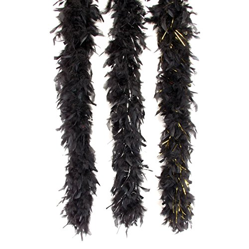 Loftus International Tinsel Long Fluffy Feather Boa Black Gold One Size 72