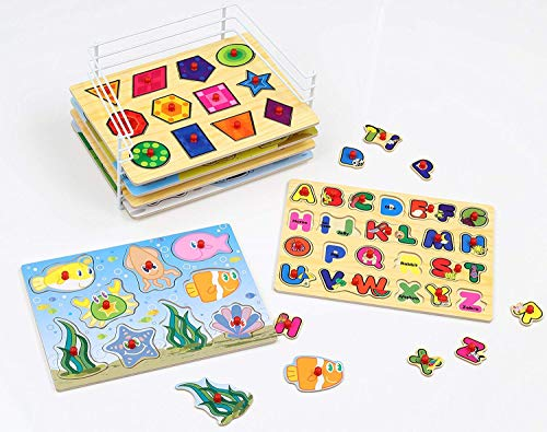 Etna Products Wooden Puzzles For Toddlers - 6 Colorful Wood Knob / Peg Puzzles, Ideal for Your Baby/Toddler - Fun & Educational - Includes Kids Alphabet Puzzle, ABC Puzzle, Shape Puzzle, Puzzle Rack by Etna (Image #5)