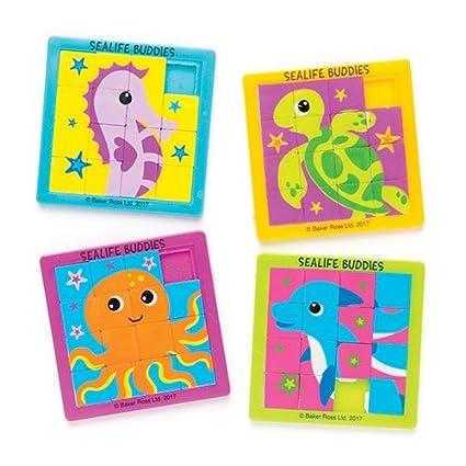Baker Ross- Puzles deslizantes de Animales Marinos para niños (Pack de 4) para Bolsas de cotillón