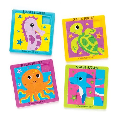 Sea Life Buddies Sliding Puzzles (Pack of 4) for Kids Party Bag Filler